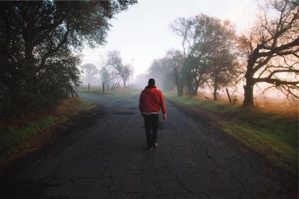 guy, man, jacket, red, hood, grass, rural, country, road, pavement, walking, pedestrian, trees