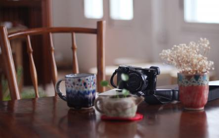 mug, cup, blur, table, chair, flower, display, camera, accessory, house, indoor, interior