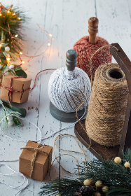 crafts,  holiday,  background,  yarn,  rustic,  festive,  gift,  handmade,  box,  decor,  twine,  ball,  spool,  natural,  christmas,  xmas,  lights