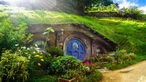 house, home, quirky, movie, hobbit, hobbiton, new zealand, plants, shrubs, flowers, green, lord of the rings, tolkien, baggins