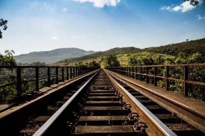 blue, sky, green, trees, hills, country, train tracks, railroad, wood