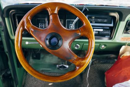 wood grain, steering wheel, car, vintage, green, dash, shifter, automotive
