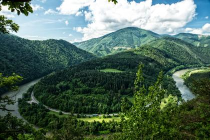 nature, mountains, slope, trees, lush, vegetation, winding, road, path, street, water, river, stream, circle, sky, clouds, expanse