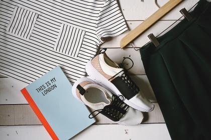shoes, book, notebook, shirt, hanger, fashion, clothes, skirt, stripes