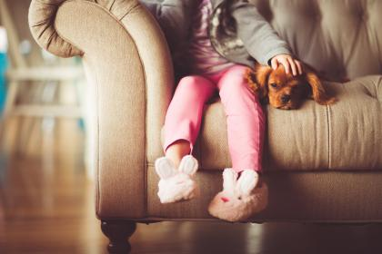 girl, child, person, people, sit, comfortable, fluffy, adorable, bunny, slippers, fashion, style, pink, dog, pet, couch, house, residence, living, room, friends, family