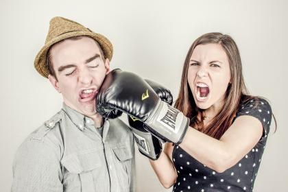 boxing, glove, fighting, punching, girl, woman, guy, man, fedora, hat, people