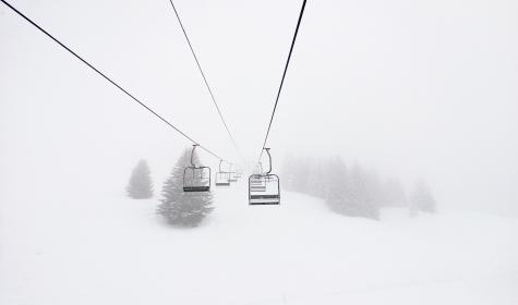snow, winter, white, cold, weather, ice, nature, trees, leaves, ride, cable car
