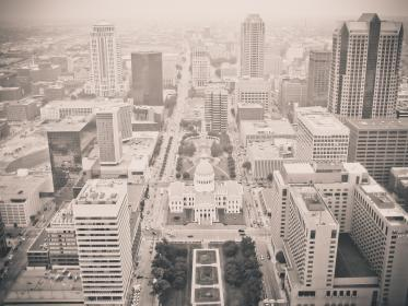 black and white, city, view, skyline, buildings, rooftops, architecture, aerial