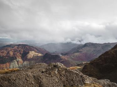 mountain, highland, rocks, hill, clouds, sky, summit, ridge, peak, landscape, nature, valley