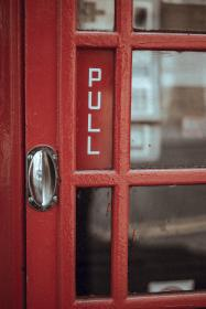 red, door, telephone, booth, payphone