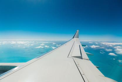 airplane, airline, travel, trip, blue, sky, flight, clouds
