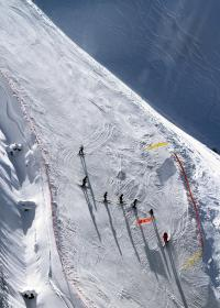 ice, skiing, skier, ski, run, sunny, snow, winter, people, men, sport, mountain