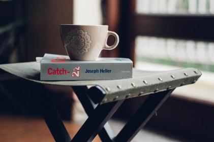 tray, coffee, cup, mug, morning, book, novel, catch, author
