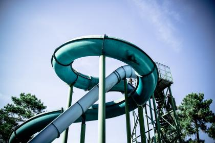 fun, travel, slides, waterpark, waterslide, nature, trees, sky, clouds