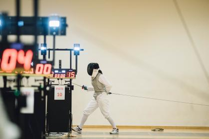 people, man, teen, sport, fencing, olympic, sword, gear, mask, uniform, white, practice, duel, fight, game, play, string, referee, wall, gym, training, time