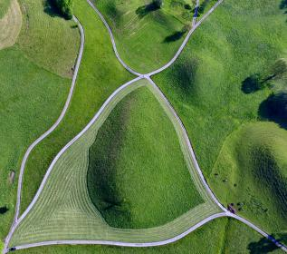 green, field, grass, aerial, view, nature, outdoor