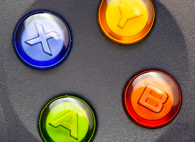 video,  game,  controller,  macro,  closeup,  control,  buttons,  blue,  red,  yellow,  green,  gamer,  console,  background,  black,  technology