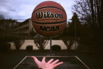 ball, basketball, sport, game, fitness, hand, palm, court, outside, blur