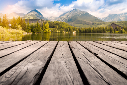 wood,  dock,  lake,  sea,  water,  mountain,  landscape,  clouds,  white,  blue,  sky,  day,  forest,  woos,  leaves,  calm