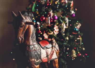 christmas, tree, ball, lights, horse, pony, figure, wooden, toy, display