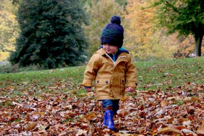people, kid, child, baby, happy, boy, cold, weather, autumn, fall, sumer, bonnet, leaves, green, park, trees