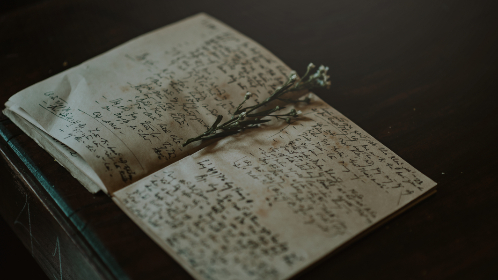 book,   asian,   flowers,   marker,   notebook,   note,   page,   paper,   table,   wood,   writing