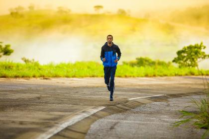 people, man, guy, green, grass, road, running, jogging, fitness, exercise