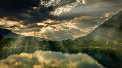 sunlight,  clouds,  lake,  water,  river,  hill,  mountain,  nature,  sunset,  sunrise,  glow,  reflection,  green,  grass,   trees
