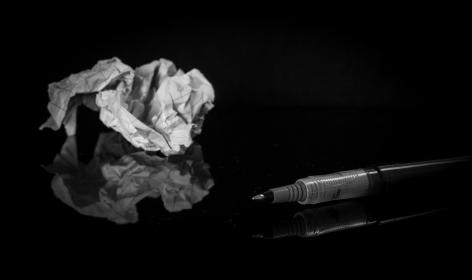 scratch, crumpled, paper, pen, black and white, reflection