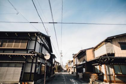road, street, house, home, wires, clouds, sky, store, shop