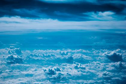 blue, sky, clouds, aerial, view, above the clouds, landscape, nature, travel, flying