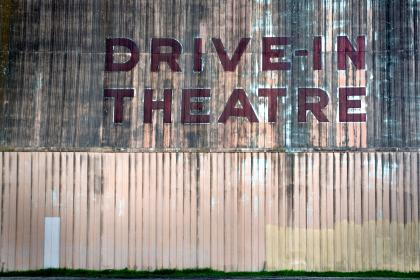 text, typography, theatre, film, movie, wall, paint, wood