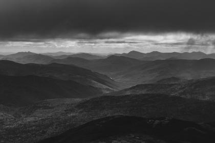 mountain, highland, black and white, landscape, view, dark, clouds, sky