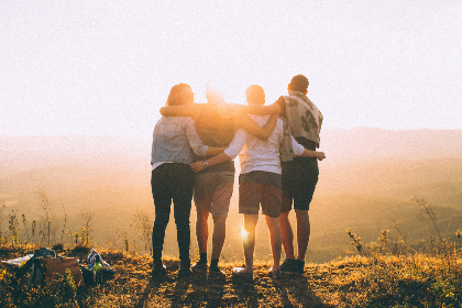 friends,  hugging,  mountain,  people,  man,  woman,  happy,  close,  family,  sunset,  nature