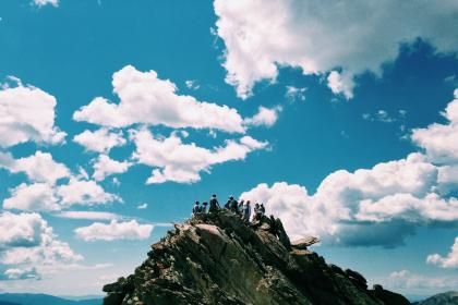sky, blue, clouds, mountain, cliff, people