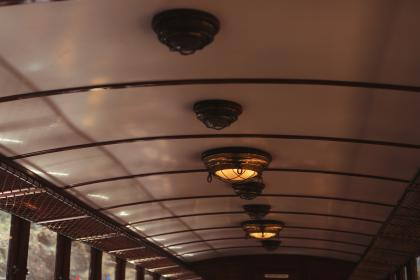 train, ceiling, lights, windows, transport, travel