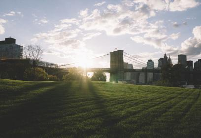 architecture, building, infrastructure, blue, sky, clouds, sunrise, sunshine, morning, green, grass, field, city, urban
