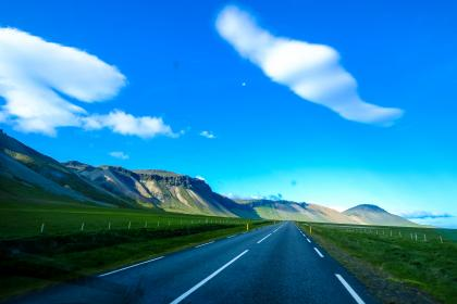 beautiful, landscape, highland, mountain, view, nature, green, grass, lawn, field, grassland, asphalt, road, outdoor, blue, sky, clouds