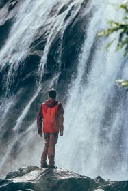 guy, man, male, people, back, contemplate, stand, nature, rocks, waterfalls, trees, raging, waters