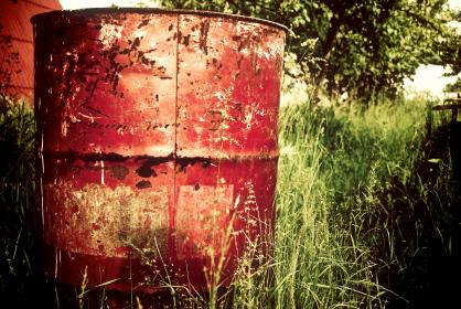 farm, red, trash can, garbage can, barrel, rust, trees, grass, green, wheat