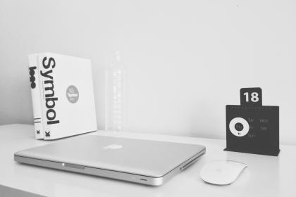 black and white, vintage, textbook, macbook, laptop, mouse, clock