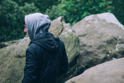 nature, woods, rocks, boulders, people, man, guy, hoodie, millenials