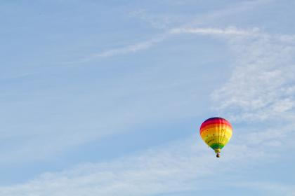 hot, air, balloon, blue, sky, outdoor, nature, colorful