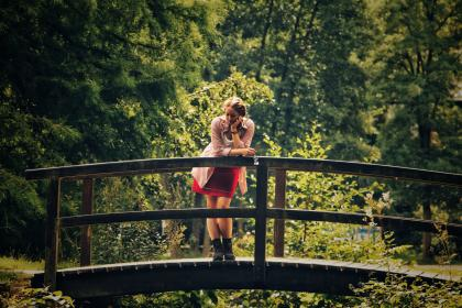 green, trees, plant, nature, forest, wooden, bridge, travel, adventure, outdoor, people, woman, alone