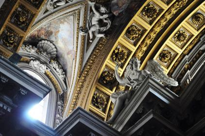 catholic, church, ceiling, religion, sculptures, angels, gold