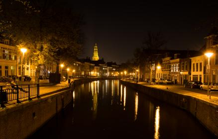 dark, night, city, canal, buildings, architecture, water, lights, cars, streets, evening