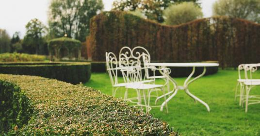 garden, shrubs, grass, tables, chairs, yard