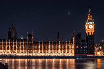 big ben, clock, lights, reflection, dark, night, sky, architecture, building, city