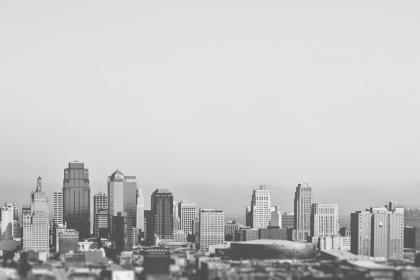 buildings, towers, city, skyline, black and white