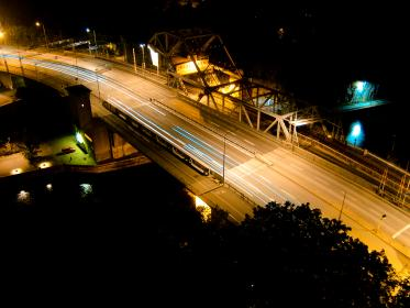 long exposure, photography, street, road, highway, trees, cars, lights, dark, night, building, infrastructure